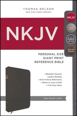 NKJV Personal Size Giant Print Reference Bible, Black   -