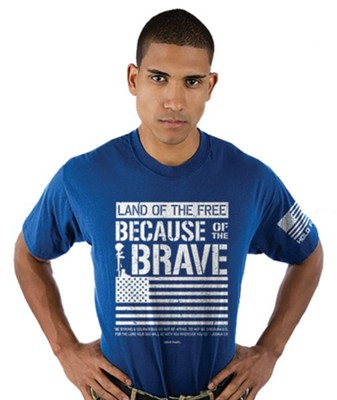 Because Of The Brave Shirt, Royal Blue, Large  -