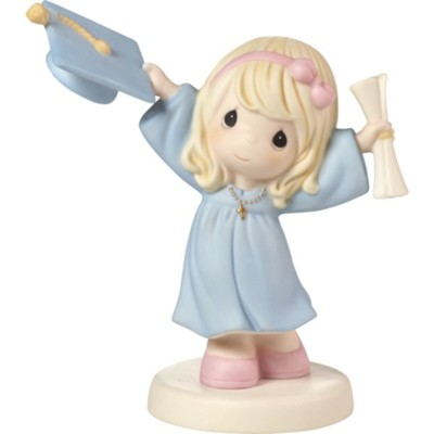 With God All Things Are Possible, Girl tossing Hat Holding Diploma, Figurine  -