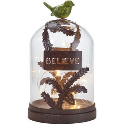 Believe LED Terrarium, With Bird  -
