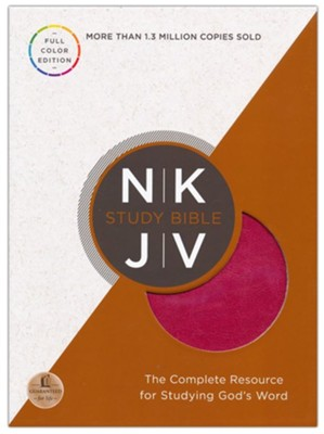 NKJV Study Bible, Full-Color Leathersoft Rich Raspberry & Rich Mahogany  -
