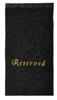 Embroidered Jacquard Pew Reserve Cloth, Black, Set of 4  -