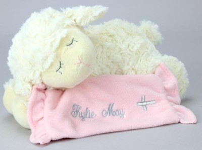 Prayer Lamb, Now I Lay Me Down To Sleep, with Blanket, Pink  -