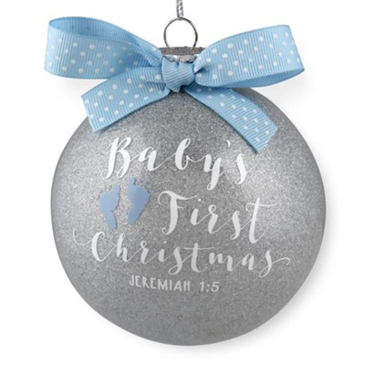 Baby's First Christmas, Blue Glass Ball Ornament  -