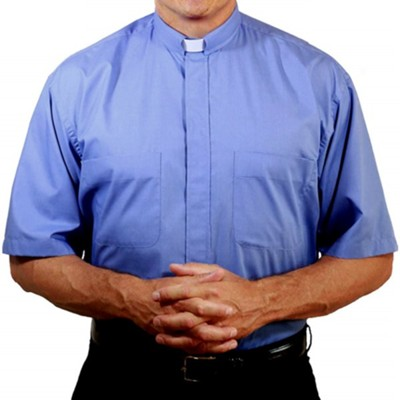 Men's Short Sleeve Clergy Shirt with Tab Collar: Medium Blue, Size 17  -
