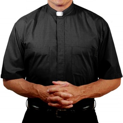 Men's Short Sleeve Clergy Shirt with Tab Collar: Black, Size 15  -