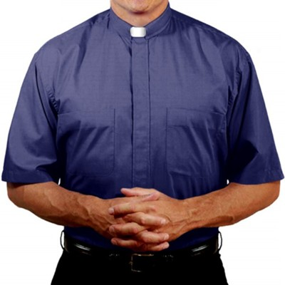 Men's Short Sleeve Clergy Shirt with Tab Collar: Navy, Size 16  -