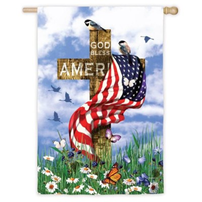 God Bless America Cross Flag, Large  -     By: Malcomb Watson