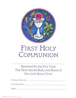 First Communion Certificate, Silver Chalice (Pack of 25)   -