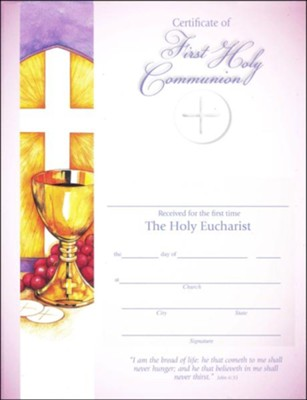 First Communion Certificates (John 6:25), Pack of 25   -