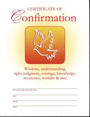 Confirmation Certificates (Pack of 25)  -