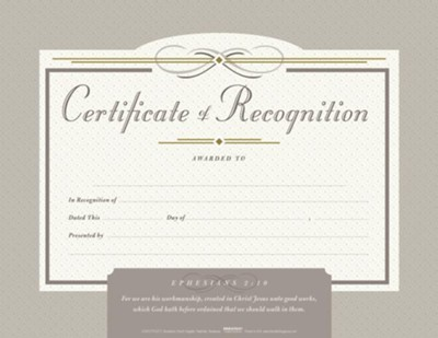 Certificate of Recognition, Pack of 6  -