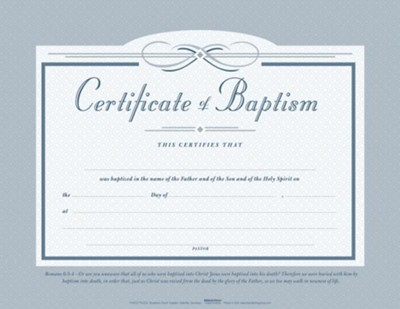 Certificate of Baptism, Pack of 6   -