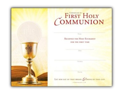 First Communion (1 Corinthians 11:28) Certificates, 25  -