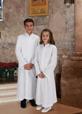 Altar Server Cassock, Full Size, White, Size 16F  -