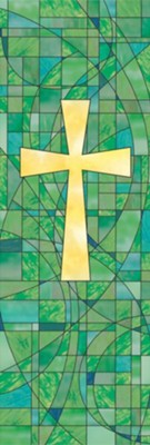 Stained Glass Cross Banner, 2'x6'  -