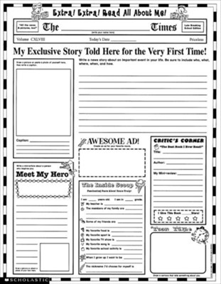 Instant Personal Poster Sets: Read All About Me!  Grades 3-6  -