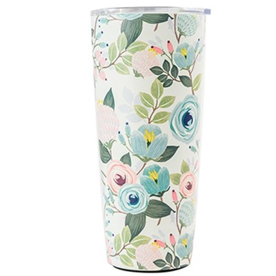 Peach Floral Stainless Steel Tumbler, Large  -