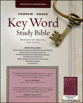 CSB Hebrew-Greek Key Word Study Bible, bonded leather, burgundy-indexed  -     Edited By: Dr. Spiros Zodhiates     By: Dr. Spiros Zodhiates, ed.