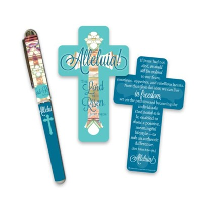 Alleluia Cross Shaped Bookmark and Pen Set  -