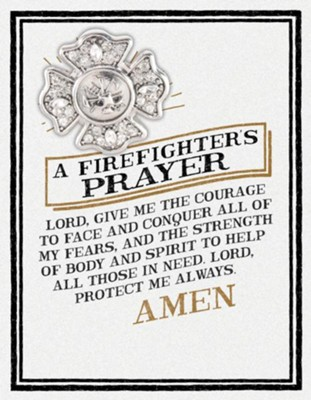 A Firefighters Prayer Pin and Card  -