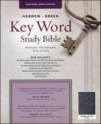 NKJV Hebrew-Greek Key Word Study Bible, Genuine Leather Black with thumb index  -