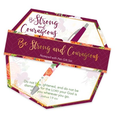 Be Strong and Courageous Notepad and Pen Giftset  -