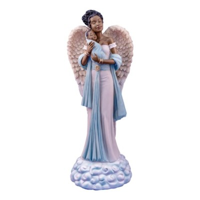 Angel with Baby Figurine, Blue  -