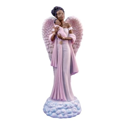 Angel with Baby Figurine, Pink  -