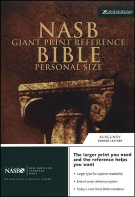 NAS Giant Print Reference Bible, Personal Size, Bonded leather, Burgundy  -