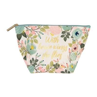 With Brave Wings She Flies Pouch, Peach Floral  -