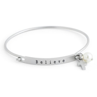 Believe Stainless Steel Bangle with Cross and Pearl Charm  -