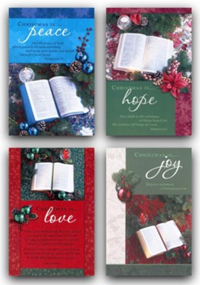 Bible & Poinsettia Christmas Cards, Box of 12  -