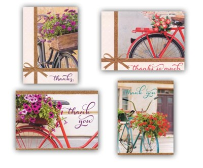 Bikes & Blooms Thank You Cards, Box of 12  -
