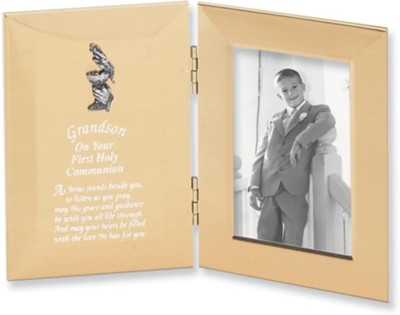 Grandson, First Holy Communion Hinged Satin Photo Frame, Silver  -