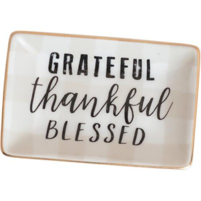 Grateful Thankful Blessed Trinket Tray  -