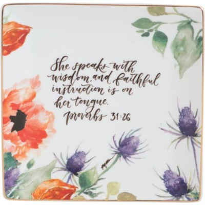 She Speaks with Wisdom Trinket Tray  -     By: Ruth Chou Simons