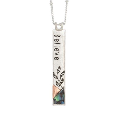 Believe Inspirational Necklace with Shell Accents  -