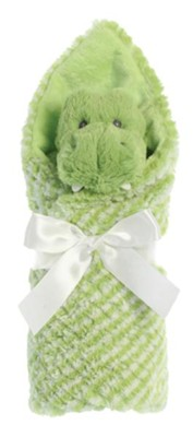 Little Pitter Pattern, Rattle and Swaddle, Gator, Green  -