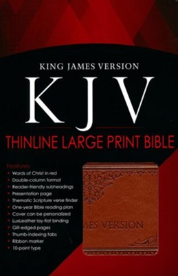 KJV Bible, Lux Leather, Large Print, Tan  -