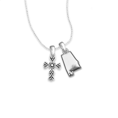 Alabama State Map, Cross, Necklace, Silver  -