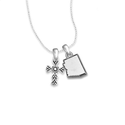 Arizona State Map, Cross, Necklace, Silver  -