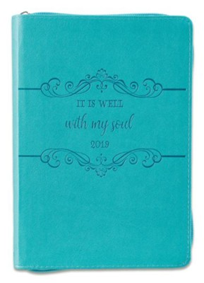 2019 It Is Well, Executive Planner, Lux Leather, Blue  -