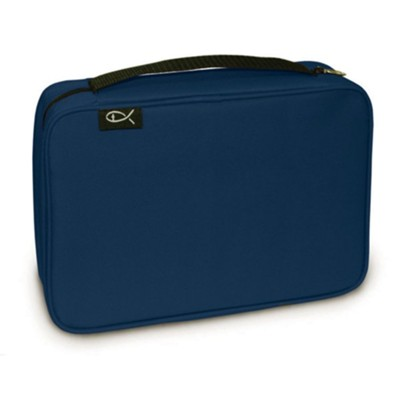Basic Canvas Bible Cover, Navy, Medium  -