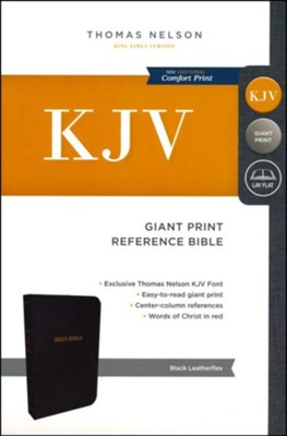 KJV Reference Bible, Giant Print, Leather-Look Black  -