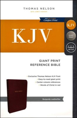 KJV Reference Bible, Giant Print, Leather-Look Burgundy  -