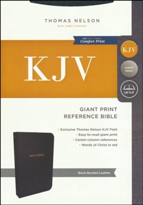 KJV Reference Bible, Giant Print, Black Bonded Leather, Indexed  -
