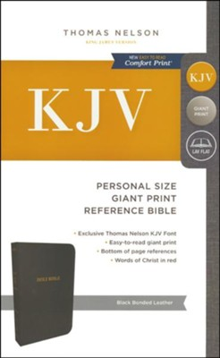 KJV Personal Size Reference Bible Giant Print, Bonded Leather, Black  -