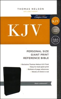 KJV Personal Size Reference Bible Giant Print, Leather-Look,  Tuo Tone Black  -
