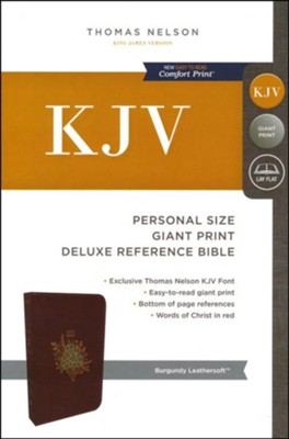 KJV Deluxe Personal Size Reference Bible Giant Print, Leather-Look, Burgundy  -
